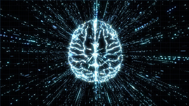 Digital brain in top view with streaming data particles exploding around it in space