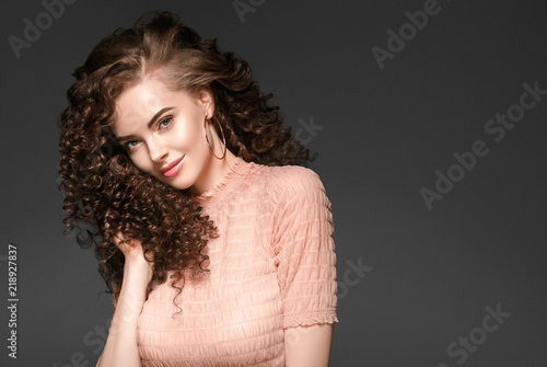 Beautiful Curly Hairstyle Woman With Red Lips Beauty Makeup Perfect