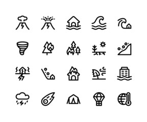 Simple Set of Disaster Related Vector Line Icons. Contains such Icons as volcano, eruption, flood, wave, tsunami and More. pixel perfect vector icons based on 32px grid editable strokes.