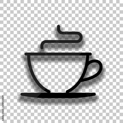 Simple Cup Of Coffee Or Tea Linear Icon Thin Outline Black Gl