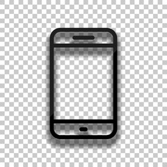 Simple mobile phone icon. Linear symbol, thin outline. Black gla