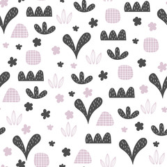Fototapete - Seamless pattern with abstract floral elements