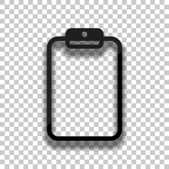Tablet with paper. Black glass icon with soft shadow on transpar