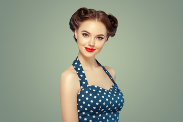 Pinup woman beauty portrait vintage retro girl model in polka dot dress