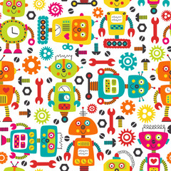seamless pattern with colorful robots on white background  -  vector illustration, eps
