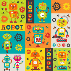 pattern with colorful robots -  vector illustration, eps