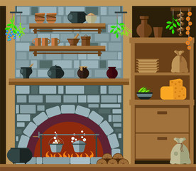 Old kitchen with stone hearth, wardrobe and kitchenware. Vector illustration, set.
