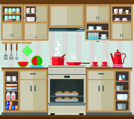 Interior kitchen set. Vector illustration of the interior and kitchen decor.