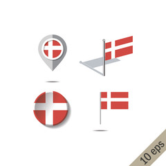 Map pins with flag of DENMARK - vector illustration