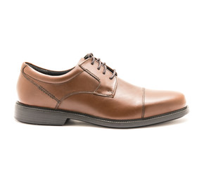 Close-up brand new one shiny brown men dress cap toe Oxford shoes isolated on white background. Formal dress code for man