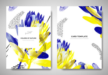Greenery greeting/invitation card template design, blue and yellow protea flowers with hand drawn doodle graphics on white background