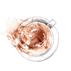 Hand drawn cup of cappuccino, top view. Pencil sketch with watercolor stain
