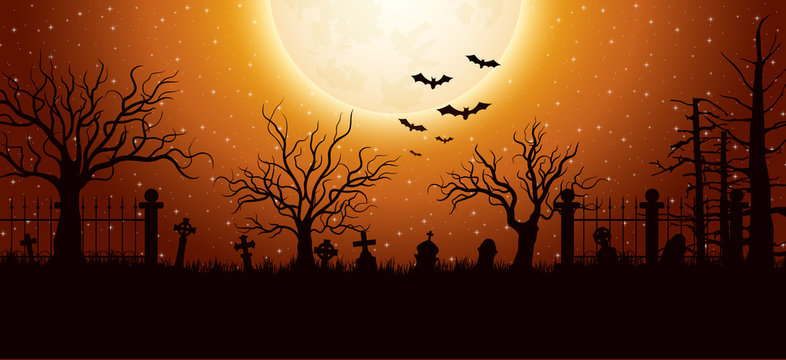 Halloween background with graveyard