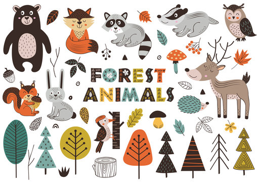 forest animals and plants in Scandinavian style -  vector illustration, eps