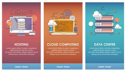 On boarding screens for mobile app templates concept. Cloud computing, hosting, data center. Vector illustration flat design