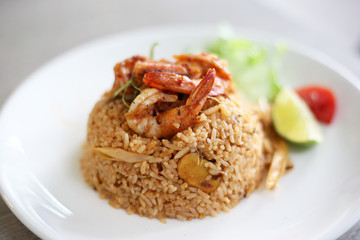 Fried rice with prawn spicy, Tom yum kung fried rice thai symbolic food.