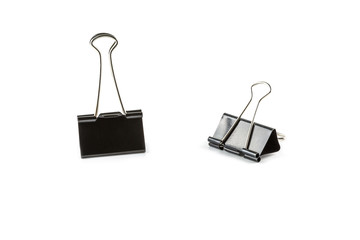 black Paper Clips isolated on White