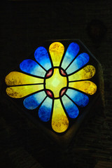 stained glass at Colonia Guell by Antoni Gaudi