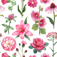 Watercolor illustrations of pink flowers. Seamless pattern