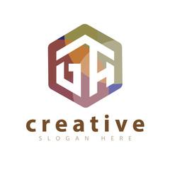 GA Initial letter hexagonal logo vector template