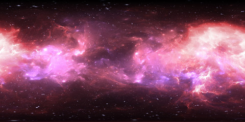 Virtual reality environment 360 HDRI map. Space equirectangular projection, spherical panorama. Space nebula with stars