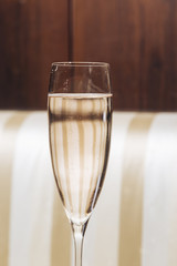 A glass with Prosecco sparkling wine in an elegant restaurant in Valdobbiadene