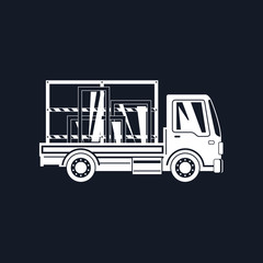 White Silhouette Small Truck Transports Windows Isolated on Black Background, Transportation and Cargo Delivery Services, Logistics, Shipping and Freight of Goods, Vector Illustration