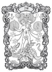 Star. Major Arcana tarot card. The Magic Gate deck. Fantasy engraved vector illustration with occult mysterious symbols and esoteric concept
