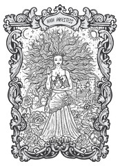 High Priestess. Major Arcana tarot card. The Magic Gate deck. Fantasy engraved vector illustration with occult mysterious symbols and esoteric concept
