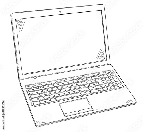 Illustration of Laptop PC - sketch style doodle