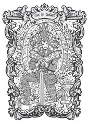 King of swords. Minor Arcana tarot card. The Magic Gate deck. Fantasy engraved vector illustration with occult mysterious symbols and esoteric concept