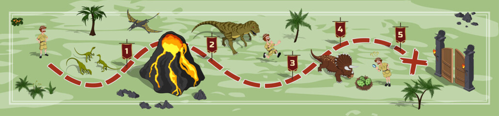 Dinosaurs world map in cartoon style. Landscape with a path image. Adventure in dino park in isometric style. Board maze. Vector illustration