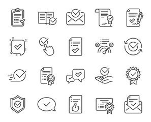 Approve line icons. Set of Check List, Certificate and Award medal linear icons. Certified document, Accepted approve and Confirm mail symbols. Guarantee, Check mark and Correct agreement signs