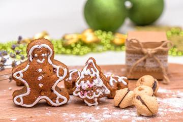Homemade Gingerbread cookies on wooden platter