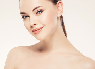 Beauty woman face with healthy skin lips natural makeup healthy fresh skin and hair isolated on white