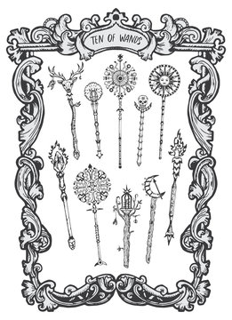 Ten of wands. Minor Arcana tarot card. The Magic Gate deck. Fantasy engraved vector illustration with occult mysterious symbols and esoteric concept