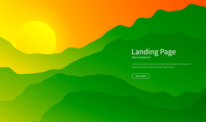 Mountain landscape. Majestic mountains background. Panorama view. Summer sunset in the hills. Hiking tourism. Green forest. Landing page concept. Vector