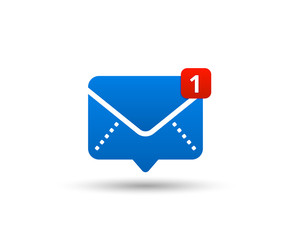 New message icon with notification. Envelope pointer with incoming message. Social media chat communication. New e-mail. Vector illustration