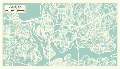 Abidjan Ivory Coast City Map in Retro Style. Outline Map.