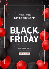 Promo poster for Black Friday sale. Dark background with black and red balloons for seasonal discount offer. Vector illustration with confetti and serpentine.