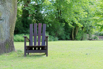 Wooden chair for relaxing on the green lawn