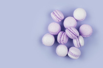 Top view Group of Ultra Violet and blue macarons