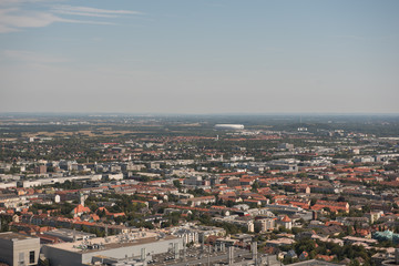 View of Allianz Arena and Munich city from Olympic tower in Germany during summer time.