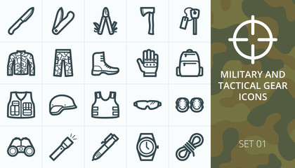Tactical gear and military equipment icons set. Collection of protective clothes, uniforms, knives, boots, gloves, tools