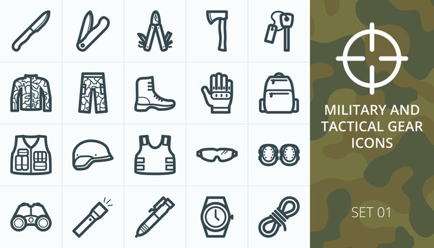 Tactical gear and military equipment icon set. Collection of protective clothes, uniforms, knives, boots, gloves, tools isolated vector icons