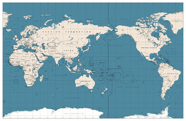 Wall Mural - Pacific Centered World Map Vintage Color