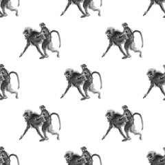 Seamless sumi-e monkey pattern. Oriental ink wash painting with baboon mother and a baby riding on her back.  Isolated on white background. Symbol of the new year of monkey.