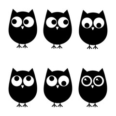 Vector illustration. Set of owls icons with different eyes positions. Black and white.