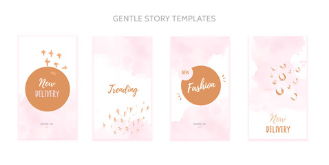 Instagram story template set with grunge splashes and watercolor stain.