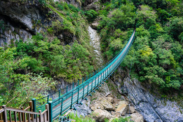 Long footbridge which start the Zhuilu old hiking trail in Taroko gorge national park Hualien Taiwan
